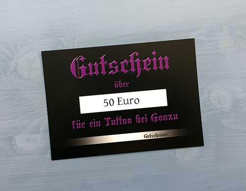 Gutschein über 50 Euro für ein Tattoo